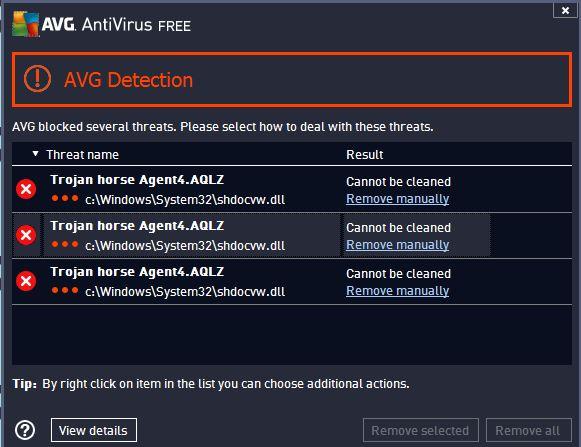 AVG agent4.aqlz shdocvw.dll Alarm